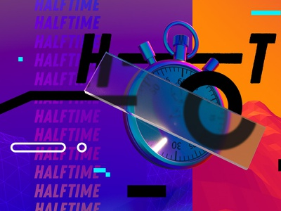 HALFTIME design cinema4d illustration gradient espn watch sports time vaporwave neon 3d