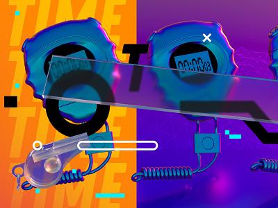 TIME mtv espn iridesce illustration vaporwave adobe design cinema4d neon 3d