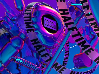 HALFTIME rave rainbow iridescent animation motion stylframes illustration 3d cinema4d vaporwave neon sports