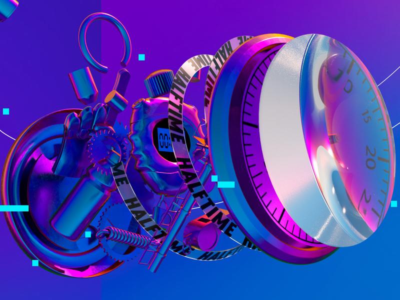 STOPWATCH sports espn cinema4d iridescent vaporwave rainbow neon motion illustration animation c4d 3d