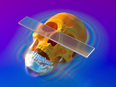 SKULL rainbow iridescent neon jaw skull character summer motion illustration c4d 3d