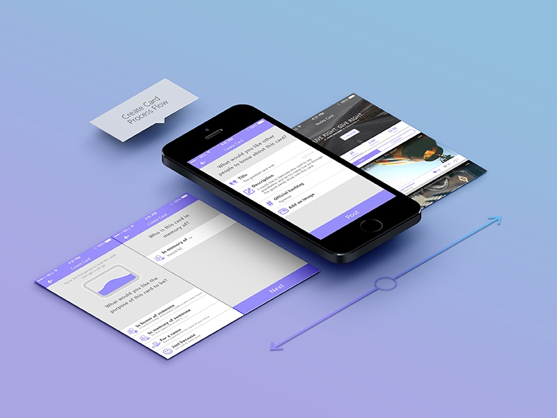 Nobly Create Card Flow mobile form input app workflow ui layout icon