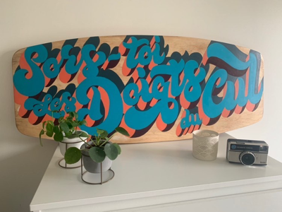 Hand painted wakeboard wakeboard paint hand-lettering procreate words lettering artist drawings pencil ink design graphic illustration typography