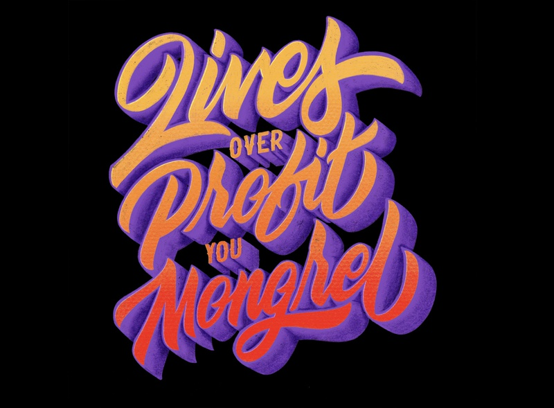 LIVES OVER PROFIT hand-lettering procreate words lettering artist drawings pencil ink design graphic illustration typography