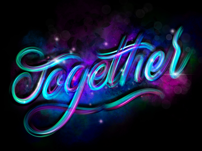 Together hand-lettering procreate words lettering artist drawings pencil ink design graphic illustration typography
