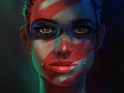 Painted Face Full digital painting illustration character