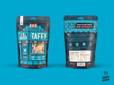 Taffy Shop Pouch Packaging salt water taffy taffy custom illustration packaging pouch