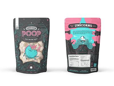 Unicorn Poop salt water taffy pouch packaging candy mushroom unicorn
