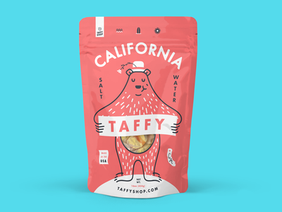 California Taffy salt water taffy bear packaging taffy poppy california