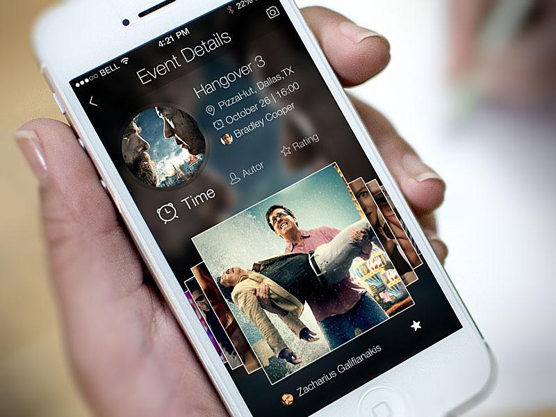 iOS7 LBS App ios7 ios app flat iphone design blur hangover event lbs