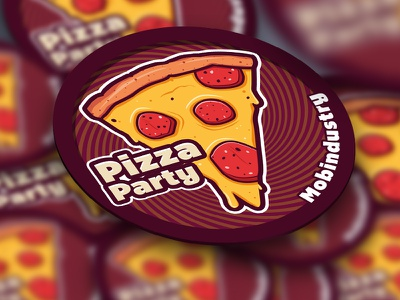 Pizza Party Sticker pizza sticker party illustration vector design graphic mobindustry