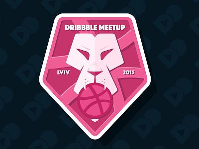 Dribbble Meetup Lviv Rebound dribbble meetup vector illustration lion sticker design flat