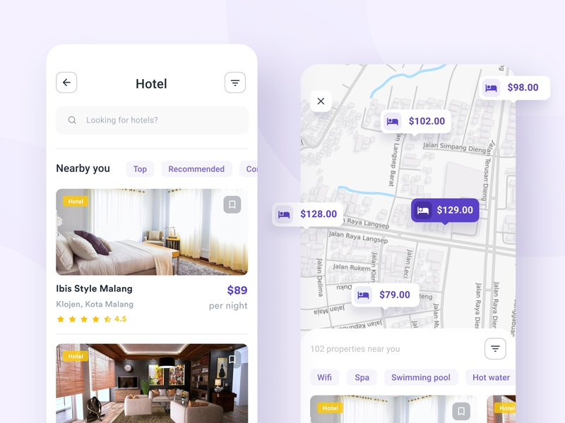 Hotel Category and Map screen  |  Mobile app ui ux app clean ui design mobile ui ux design purple ios rent real estate villa room apartment hotel booking simple property flat