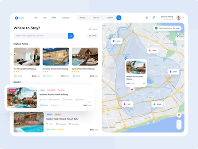 Statu ● Real Estate Home Page maps ratings resorts cottage apartment hotel real estate store user interface blue ui  design clean design ux ui