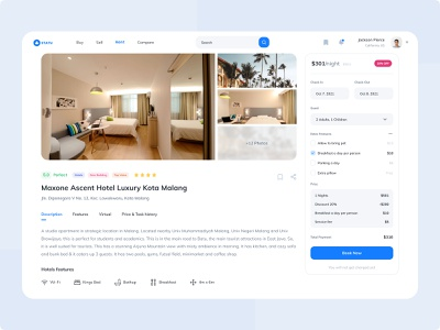 Detail Page   Statu Property Rent figmadesign booking resort appartment hotel real estate property user interface blue ui  design clean design ux ui