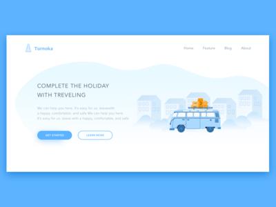 First Shot - Traveling Website vw traveling web design illustration ui design