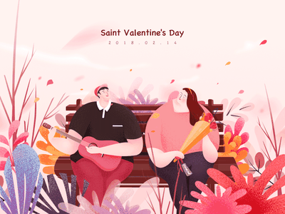 Saint Valentine's Day flower sit tree love iphonex ios11 illustration guitar girl gift couples boy