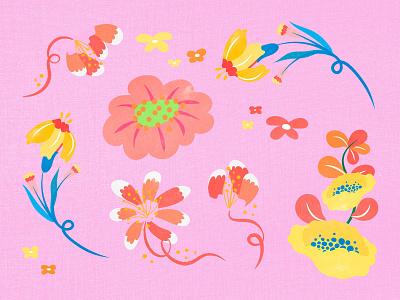 Beautiful Batik Flower Design Elements & Backgrounds batik botanical background wallpaper design elements graphic design graphics illustrator flower floral freebie design colorful illustration vector