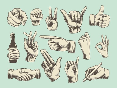Retro Vintage Hand Illustration Stickers drawing hand drawn hand icon handshake fingers peace sign hand gesture element set retro vintage ok gesture finger hand graphic design freebie design illustration vector