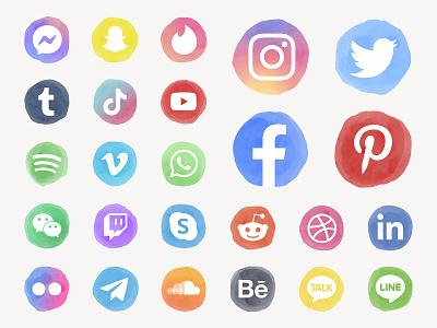 Social Media Icon Kit logo illustration youtube bundle download pack clipart watercolor aesthetics twitter instagram facebook social media social media icon psd ui colorful graphic design design vector