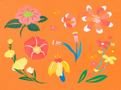 Beautiful Batik Flower Design Elements & Backgrounds freebie bright textile botanical floral flower summer flower summer wallpaper background set sticker kit pack psd colorful graphic design design vector
