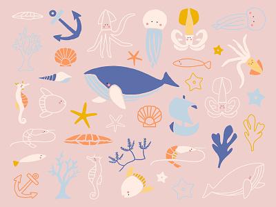 Cute Sea World Sticker Kit marine life underwater adobe illustrator digital sticker adorable cute illustration doodle illustration fish ocean sea world cute sticker kit pack sticker freebie graphic design design vector