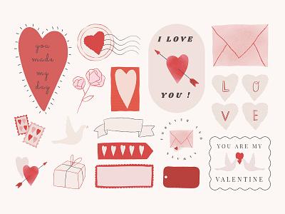 Love Digital Sticker Pack | Valentine's Day valentines illustrator photoshop adobe png psd i love you romance decoration heart sticker love sticker heart love romantic kit pack sticker graphic design design vector