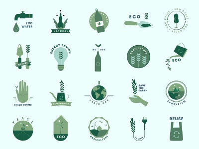 Go Green Icon Set logo icon pack zero waste eco-friendly global warming badge recycle go green climate change sustainability eco environmental environment icon set psd freebie graphic design design vector