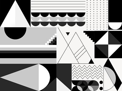 Black & White Bauhaus Design abstract art shapes abstract geometric pattern background modern bauhaus grayscale monotone monochrome black and white illustrator psd illustration freebie graphic design design vector