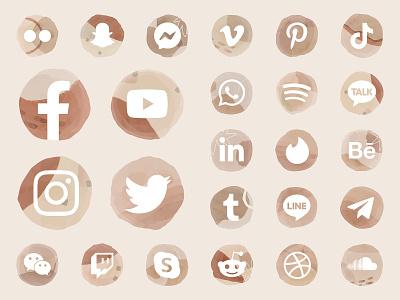 Social Media Icon Set pack icon social media facebook instagram twitter aesthetic watercolor clipart set download bundle youtube logo psd illustrator illustration freebie graphic design design