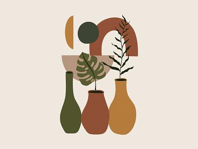 Modern Plant & Vase | Aesthetic Art Print minimal house plant potted plant vase plant botanical home decor wall decor artistic modern art artwork free art wall art prints illustration download freebie graphic design design art print