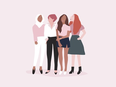 Women Vector Art | Diverse People Collection vector art girls feminism women empowerment pink graphic people diversity inclusion women feminine female photoshop illustrator psd freebie illustration vector graphic design design