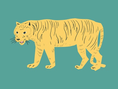 Tiger Linocut Illustration | Wildlife from the Jungle linocut vintage vector illustration artwork vector art wildlife jungle wild animal cute photoshop illustrator vector png psd graphic design illustration design flat tiger