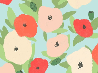 Flower Graphics | Poppy Background background vibrant bright hand drawn seamless pattern floral pattern floral art poppies summer colorful psd illustrator illustration vector graphic design design flat floral flower poppy