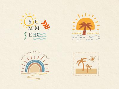 Summer Badge Set | PNG, PSD & Vector merchandise set sun sunny summer vacation apparel tee t-shirt print summer vibes summer badge branding design graphic design illustration illustrator photoshop psd png vector