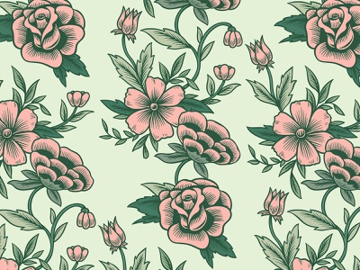 Retro Floral Pattern | Seamless Vector Illustrations fabric seamless pattern art decoration spring vintage retro daisy png psd vector design graphic design illustration illustrator pattern textile floral flower rose