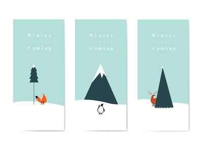 Winter Is Coming Poster   Editable Vector Template deer penguin fox animal cartoon holiday cold snow winter is coming freebie design graphic design adobe illustrator vector poster december merry christmas christmas winter
