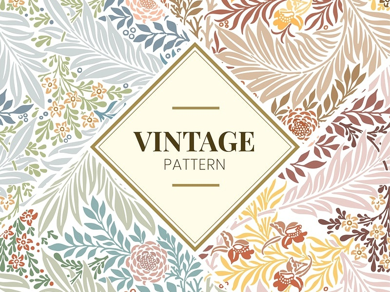 Free: Floral pattern design inspired by William Morris's works seamless wallpaper vintage colorful design vector illustration freebie free digital art fruit pomegranate pattern design pattern library pattern natural pastel graphic flower floral