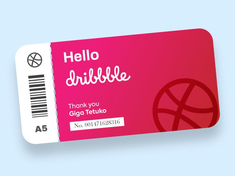 Hello Dribbble! flat design ui card illustration