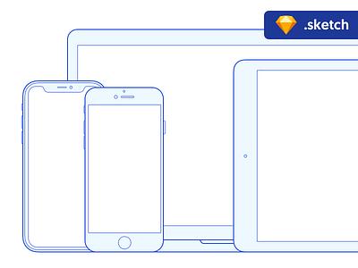 Free Sketch mockups: Apple devices sketch blue outline iphone x macbook ipad iphone apple mockup freebie