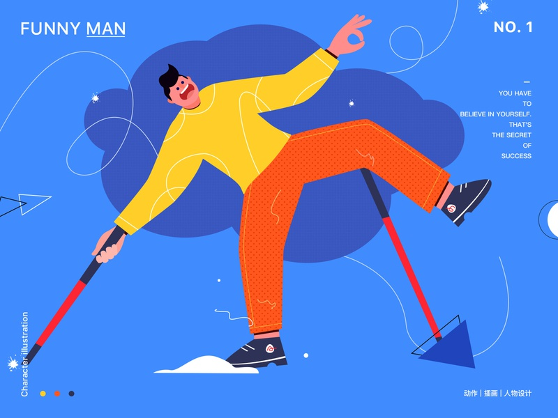 Funny man web illustration ui