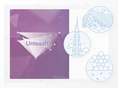 Unleash Cover Dribbble illustration playful building construction webdesign triangles svg shape colorful animation