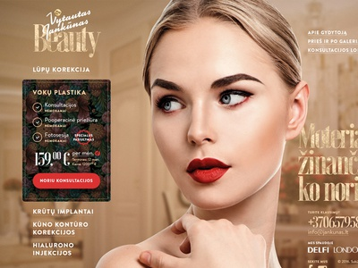 Jankunas Beauty woman girl surgery plastic fashion landing gold beauty ux ui web design website