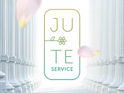 Ju-te Service white light gradient flower stroke outline line cleaning clean design branding logo