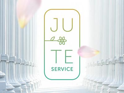 Ju-te Service white light gradient flower stroke outline line cleaning clean design branding logo