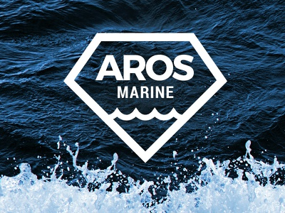 Aros Marine stroke outline wave diamond blue marine vessel ship interior sea branding logo