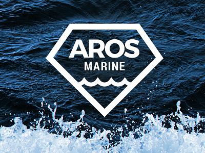 Aros Marine stroke outline wave diamond blue marine vessel ship interior sea branding logo
