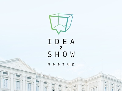 Idea2show freelance show meet conference outline chest white box idea bubble talk logo