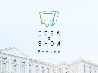 Idea2show freelance show meet conference outline chest white box idea bubble talk logo