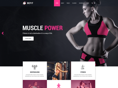 BeFit - Gym and Fitness Template gymnasium yoga workout trainer sports health club gym fitness boxing body building aerobic